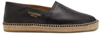 Valentino Collapsible Heel Leather Espadrilles - Mens - Black Multi