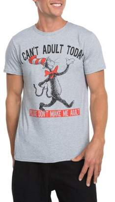 Dr. Seuss Movies & TV Men's Dr. Seuss' The Cat in the Hat I Can't Adult Short Sleeve Crew Neck Tee Shirt, up to Size 3XL