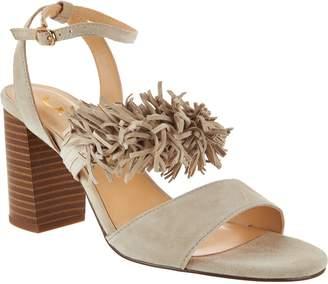 C. Wonder Suede Block Heel Sandals with Fringe - Gabrielle