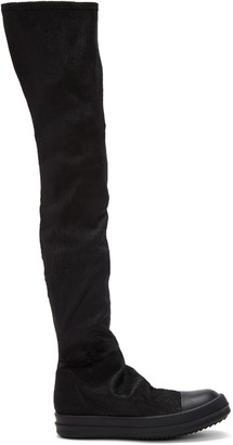 Rick Owens Black Stocking Sneak Tall Boots $1,915 thestylecure.com