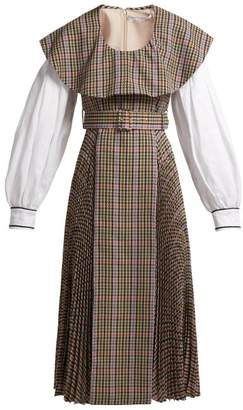 Emilia Wickstead Kevin Pleated Houndstooth Crepe Lined Dress - Womens - Brown Multi