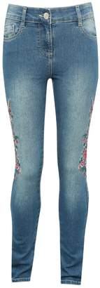 M&Co Teens' floral embroidered jeans