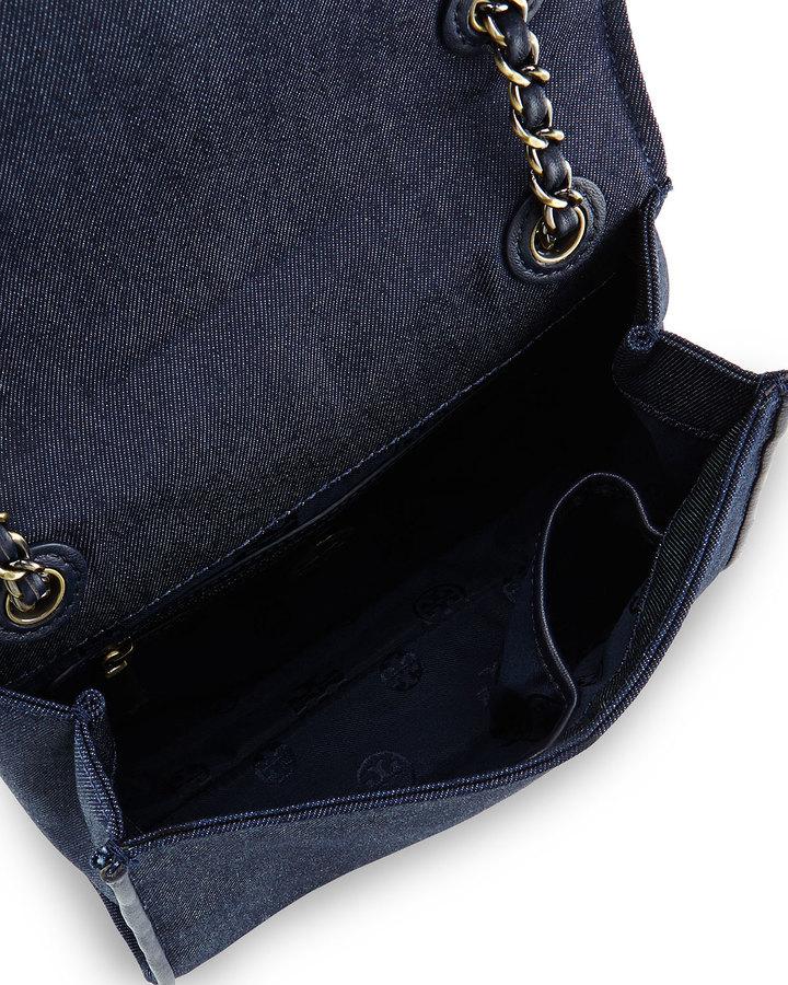 Tory Burch Fleming Quilted Denim Flap Bag, Indigo 2