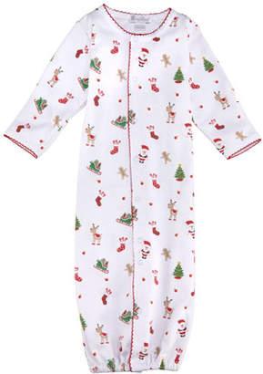 Kissy Kissy Tis The Season Printed Pima Convertible Gown, Size Newborn-S