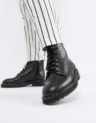 Office Attention eyelet chunky black leather boots