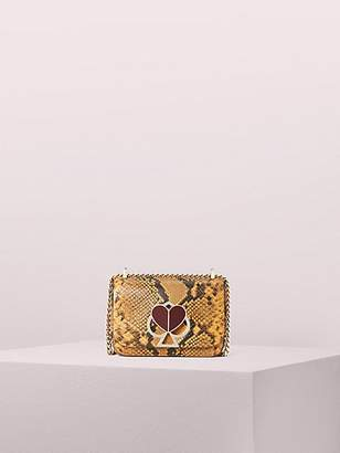 Kate Spade Nicola Snake Embossed Twistlock Small Convertible Chain Shoulder Bag, Marigold