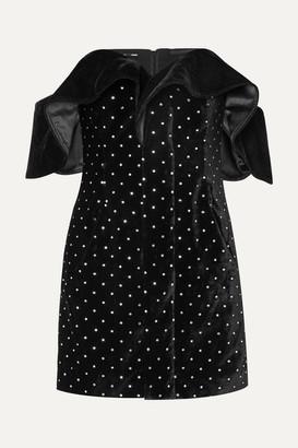 Self-Portrait Off-the-shoulder Embellished Velvet Mini Dress - Black