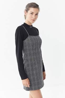 Saylor Plaid Straight-Neck Bodycon Dress