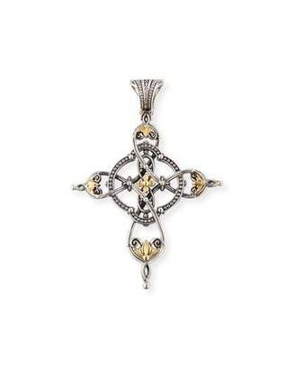 Konstantino Etched Sterling Silver & 18K Gold Cross Pendant