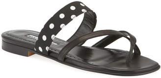 Manolo Blahnik Srila Polka Dot Flat Slide Sandals