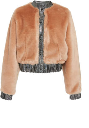 Rodarte Metallic-Trimmed Faux Fur Bomber Jacket