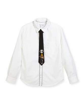 Little Marc Jacobs Long-Sleeve Oxford Shirt w/ Mister Marc Tie, Size 4-5