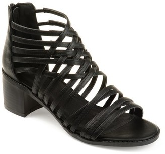 3afe584a4e36 Womens Faux Leather Caged Criss-cross Heeled Sandals
