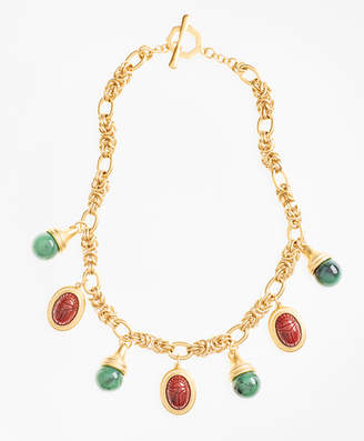 Brooks Brothers Poppy Jasper Scarab Charm Necklace