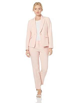 Le Suit Women's 1 Button Notch Collar Crepe Pant Suit