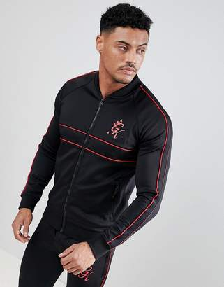 Gym King Muscle Baseball Jacket In Black
