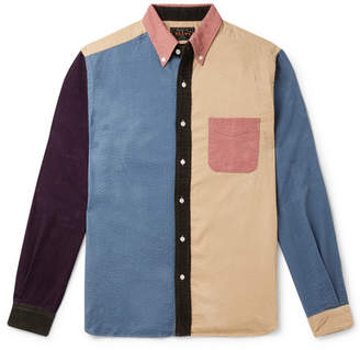 Beams Slim-fit Button-down Collar Panelled Cotton-corduroy Shirt - Multi