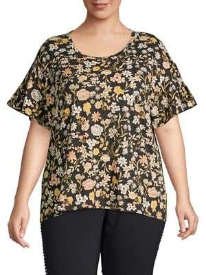 Lord & Taylor Plus Floral-Print Cotton Tee