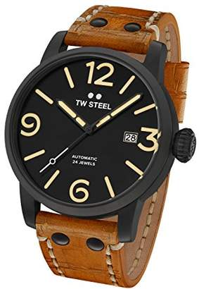 TW Steel Maverick Men Automatic Watch with Black Dial Analogue Display and Brown Leather Strap MS36