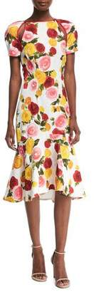 Naeem Khan High-Neck Floral-Print Matelasse Midi Cocktail Dress