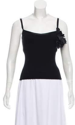 Ralph Lauren Black Label Floral-Embellished Cashmere Top