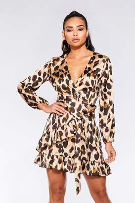 d578b76014 Quiz TOWIE Red and Black Satin Leopard Print Wrap Dress