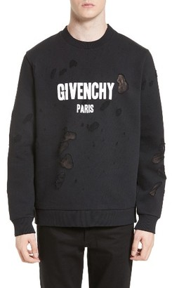 Men's Givenchy Distressed Logo Graphic Sweatshirt $1,050 thestylecure.com