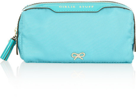 Anya Hindmarch Girlie Stuff patent leather-trimmed cosmetics case