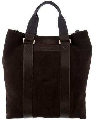 Salvatore Ferragamo Suede Leather-Trimmed Tote