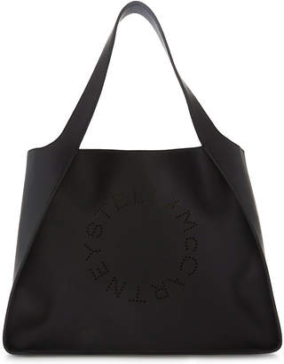 Stella McCartney Black Perforated Faux Leather Tote Bag
