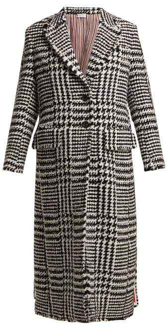 Single Breasted Houndstooth Check Tweed Coat - Womens - Black White