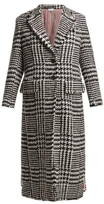 Thom Browne Single Breasted Houndstooth Check Tweed Coat - Womens - Black White