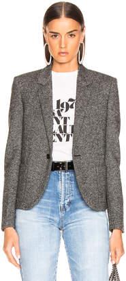 Saint Laurent Tweed One Button Blazer