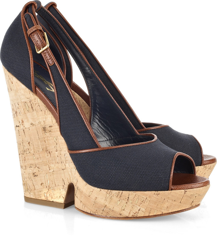 Yves Saint Laurent Deauville canvas wedge sandals
