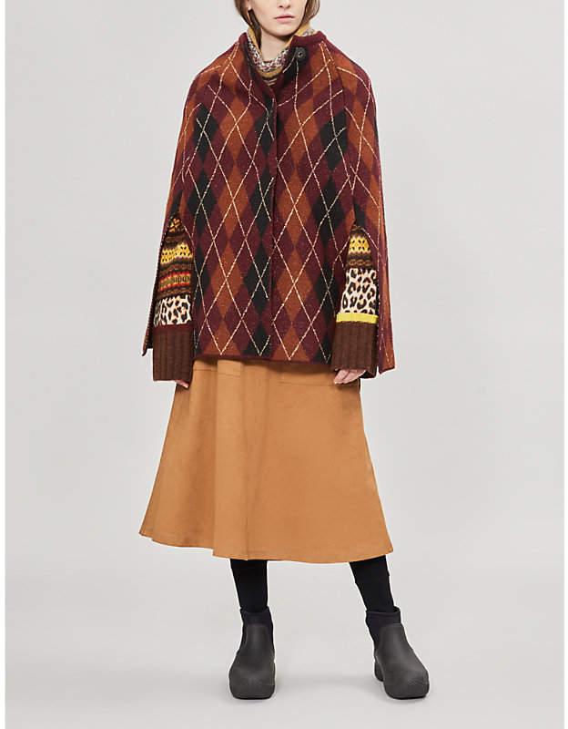 Argyle-knit wool-blend jacket
