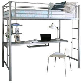 Walker Edison Twin Metal Loft Bed With Workstation