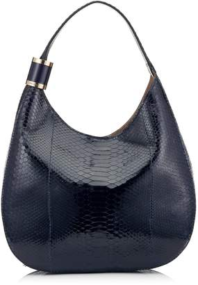 Jimmy Choo STEVIE Navy Glossy Python Shoulder Bag