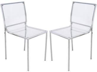 clear LeisureMod Modern Almeda Acrylic Dining Chair, Clear, Set of 2