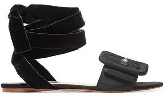 ATTICO Jole Moire And Velvet Sandals - Black