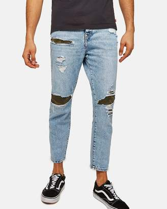 Topman Camouflage Patch Tapered Jeans
