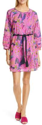 Tanya Taylor Sylvia Floral Tie Waist Cotton Dress