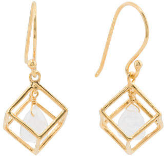 Made In India Sterling Silver Moonstone Caged Cube Earrings