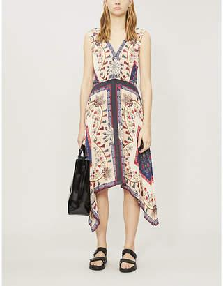 Sandro Mixed print V-neck sleeveless satin dress