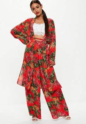Missguided Red Tropical Print Duster Jacket