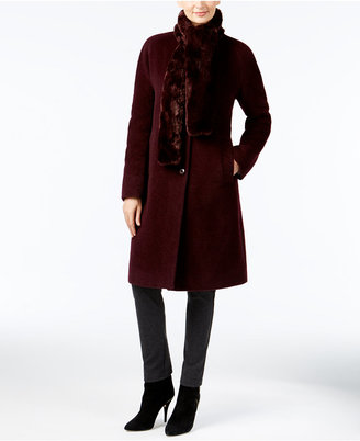 Jones New York Walker Coat with Faux-Fur Scarf $400 thestylecure.com
