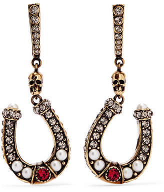 Alexander McQueen Gold-tone, Faux Pearl And Crystal Earrings - one size