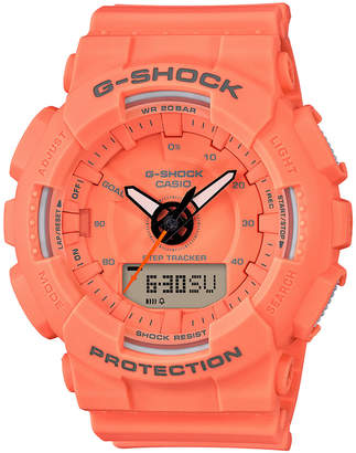 G-Shock Women's Analog-Digital Orange Resin Strap Step Tracker Watch 49.5mm