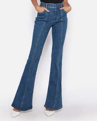 Express Super High Waisted Denim Perfect Stretch+ Bell Flare Jeans