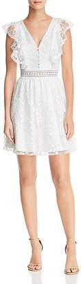 Aqua Embroidered Flutter Sleeve Dress - 100% Exclusive