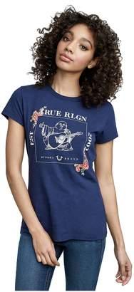 True Religion Women's Floral Buddha Crew Neck Tee Shirt in True Navy